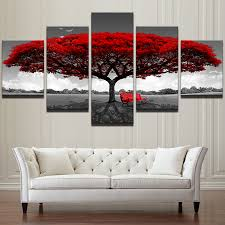Home Decor <b>HD</b> Printed Wall Art <b>Pictures 5 Piece</b> Red Tree Art ...