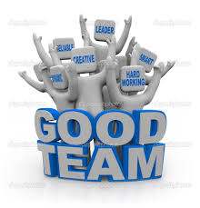good team teamwork qualities stock photo copy iqoncept  a group of cheering teamwork qualities on their heads leader smart hard working creative reliable dynamic standing behind the words good
