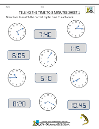 Telling Time Clock Worksheets to 5 minutesTelling the time to 5 minutes Sheet 1 ...