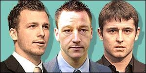 Jody Morris, John Terry and Des Byrne. The three footballers deny the charges against them - _38178095_footballers_court_300