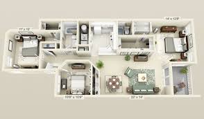 "Three "" "" Bedroom Apartment House Plans   Architecture  amp  Design  cool   bedroom  d plans"