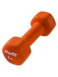 <b>Гантель неопреновая</b> STARFIT <b>DB</b>-<b>201 2</b> кг, оранжевый (1 шт ...