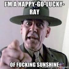 I'm a happy-go-lucky-ray of fucking sunshine - Angry Drill ... via Relatably.com