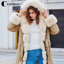 <b>CKMORLS New Fashion</b> Parka Coat For Women <b>Real</b> Fur Jacket ...