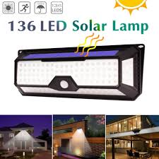 66//118/<b>136 LEDs Outdoor LED Solar</b> Panel Powered Porch Light ...