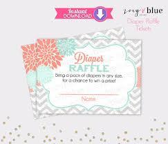 floral diaper raffle tickets mint coral chevron girl baby shower floral diaper raffle tickets mint coral chevron girl baby shower games printable diaper raffle ticket diy printable file instant