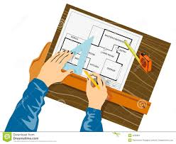 Hands Drawing House Plan Stock Image   Image  Hands drawing house plan