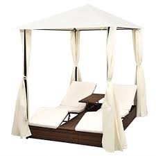 Tidyard 2-Person Outdoor <b>Sunlounger</b> Daybed with Curtains <b>Poly</b> ...