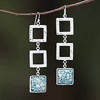 Square <b>Roman</b> Glass <b>Dangle</b> Earrings from <b>Thailand</b> - Triple Frame ...