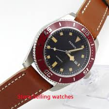 <b>43mm Parnis Black Dial</b> Yellow Mark Sapphire Glass Automatic ...