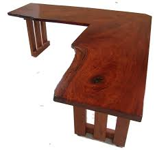 rustic l shape teak wood computer desk in plain cherry finish with f slats table legs home best home office computer