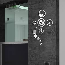silver round bedroom office home decoration diy mirror glass wall clock set modern circle design mirror aliexpresscom buy office decoration diy wall