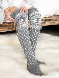 Grey Snowflake Pattern <b>Christmas Santa Print</b> Knitwear Cute Legging