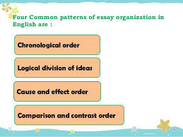 chronological order essay ideas Four Common patterns of essay organization in English are Chronological order Logical division of ideas