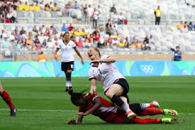 rio olympics defeats in photos ann odong photo melanie behringer reacts to a crunching tackle from defender kadeisha buchanan ann odong photo