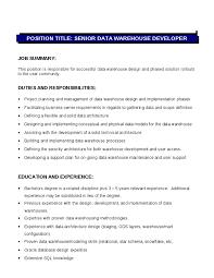 senior data warehouse developer job description   hashdocsenior data warehouse developer job description