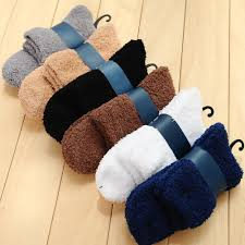 Indoor <b>Casual Socks Men Autumn Winter Socks</b> Solid Color Warm ...