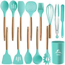 MIBOTE <b>11pcs Silicone Cooking</b> Kitchen Utensils Set, Bamboo ...