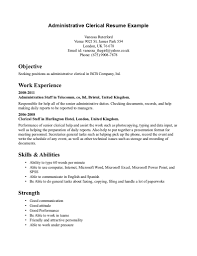 clerical sample resume