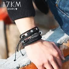 17KM Fashion Leaves Owl Leather <b>Charm Bracelets</b> Set For <b>Men</b> ...