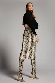 Dsquared2 Python <b>Print Leather Skirt</b> Grey - Skirts for Women ...