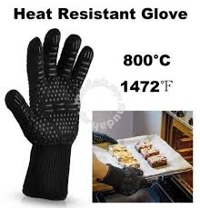 <b>1pc</b> 800 C <b>Heat Resistant</b> BBQ Fireproof Black Glove - Home ...
