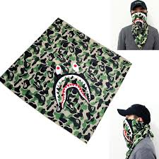Camouflage <b>Shark</b> Mask Kerchief <b>Printing</b> Square Scarf Riding ...