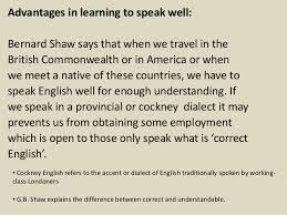 spoken english and broken english by gb shaw advantages in learning
