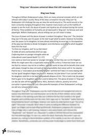 essay on     power       year  hsc   english  advanced    thinkswapking lear essay
