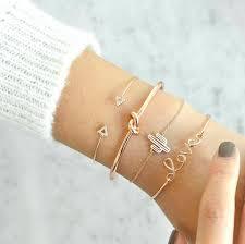 <b>docona</b> 4pcs/1set <b>Gold Color</b> Cactus Letter Knot Bracelet <b>Bohemian</b> ...