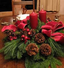 dining table setup flowers candles magnificent red tapes and green leafs and two red candles at natural r