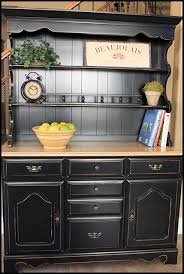 this is very similar to the china cabinet that i redid from my grandma black paint oak top considering putting it in my office black painted furniture ideas
