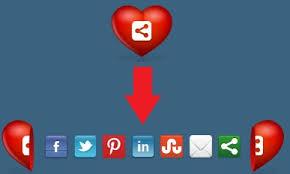 Botões de Redes Sociais em Forma de Coração