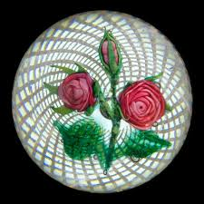 <b>Pink Roses</b> on Latticinio Paperweight - Boston & Sandwich Glass ...