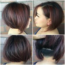 Hair Style Highlights womens chic undercut stacked bob on dark hair with burgundy 1914 by wearticles.com