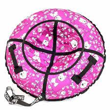 Санки надувные <b>Тюбинг RT Собачки</b> на розовом, диаметр 118 см