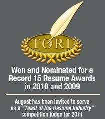 TORI Career Directors International      Best Cover Letter  st Place Award