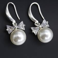 Elegant Korean <b>Style</b> Bowknot Pearl Earrings Cubic Zirconia <b>Crystal</b> ...