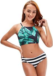 GEEK LIGHTING Women's Two Piece Bikini High Waisted ...