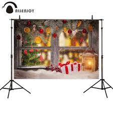 <b>Allenjoy Christmas photo background</b> window candle Pine tree ...
