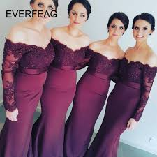 <b>Lace Burgundy Bridesmaid</b> Dresses <b>Sexy</b> Mermaid Long Sleeve ...