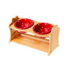 Cute <b>Pets Double Bowl Dog</b> Cat Food Water Feeder Stand Raised ...
