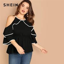 SHEIN Plus Size <b>Sexy Cold Shoulder</b> Butterfly Sleeve Women Black ...