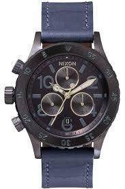 <b>Часы NIXON 38-20</b> CHRONO <b>LEATHER</b> (All Indigo/Natural) | www ...