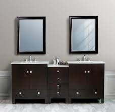 bathroom modern vanity designs double curvy set:  bathroom modern bathroom furniture design of dark brown bathroom vanity designe with drawers and double white sinks also rectangular mirror using black frames combine with granite white floor tiles d