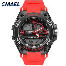 Waterproof <b>Male Sport</b> Clock <b>SMAEL</b> Brand Red Color LED ...