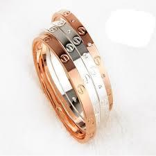 <b>Trendy Rose Gold</b> Silver Bracelet for <b>Women</b> Bangle Lover Bracelet ...