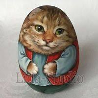 "Details about Egg. 6cm. ""<b>Cat</b> and Sewn Mouse"" by ""Lida-Studio ..."