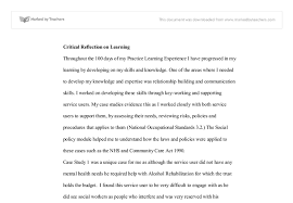 critical reflection essay  compucenterco critical reflection university social studies marked by document image preview