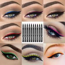 <b>12 Colors</b> Black Brown Purple <b>Colored Eyeliner</b> Pencil <b>Waterproof</b> ...